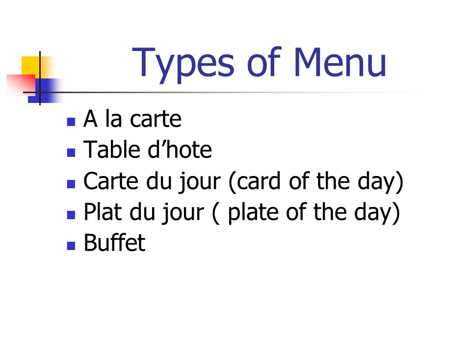 Types of Menu A la carte Table d'hote Carte du jour (card of the day)