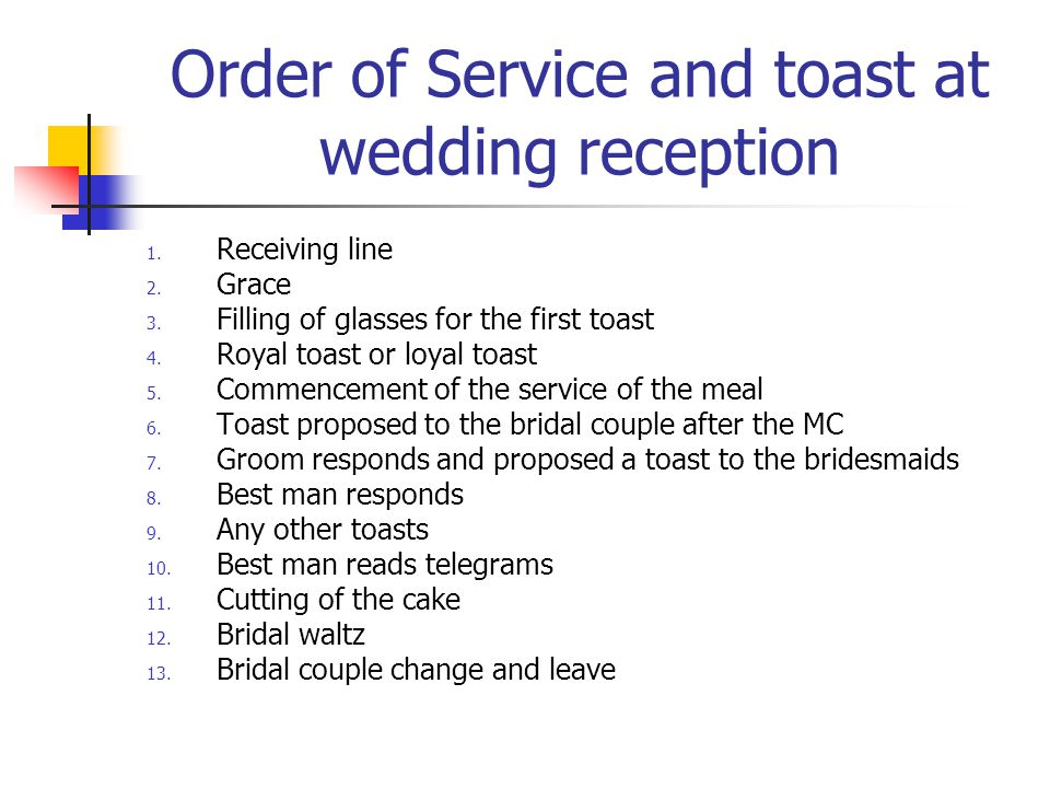 Order of Service and toast at wedding reception