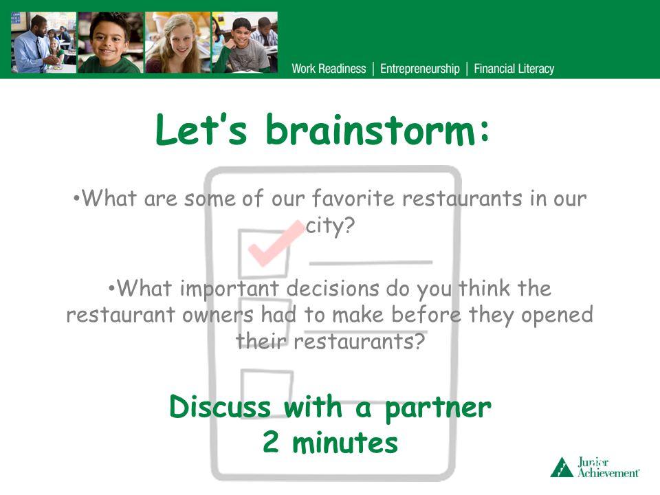 Planning our restaurant