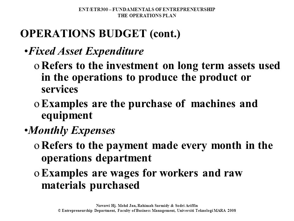 OPERATIONS BUDGET (cont.)
