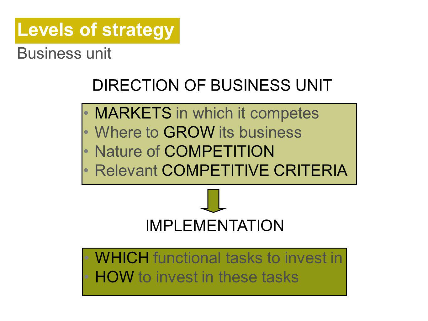 DIRECTION OF BUSINESS UNIT
