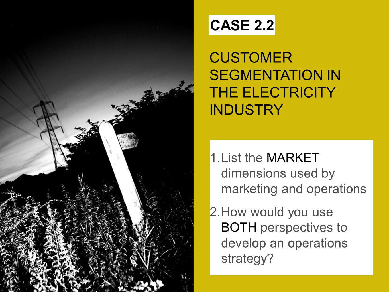 CUSTOMER SEGMENTATION IN THE ELECTRICITY INDUSTRY