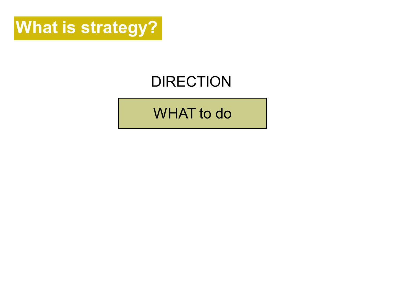 What is strategy DIRECTION WHAT to do