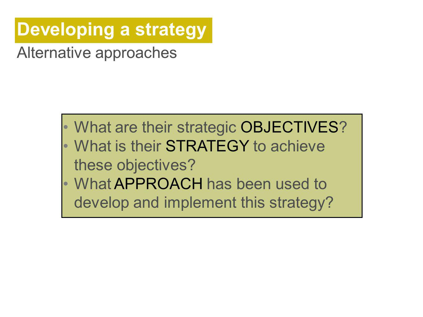 Developing a strategy Alternative approaches