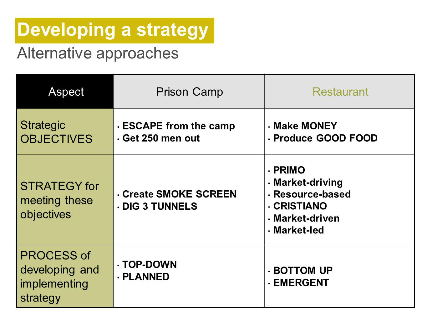 Developing a strategy Alternative approaches Aspect Prison Camp