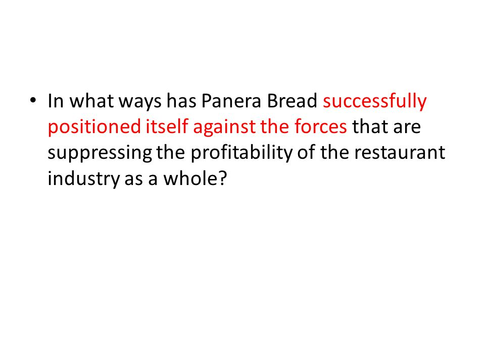 In what ways has Panera Bread successfully positioned itself against the forces that are suppressing the profitability of the restaurant industry as a whole