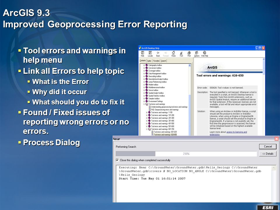 ArcGIS 9.3 Improved Geoprocessing Error Reporting