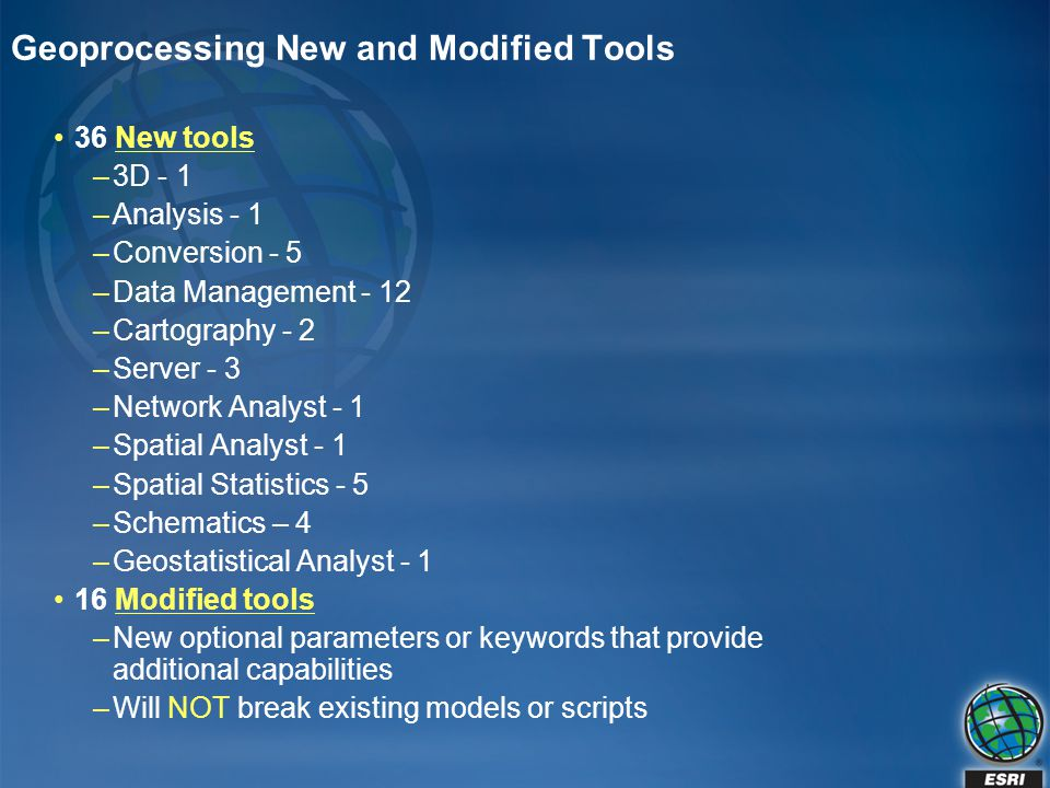 Geoprocessing New and Modified Tools