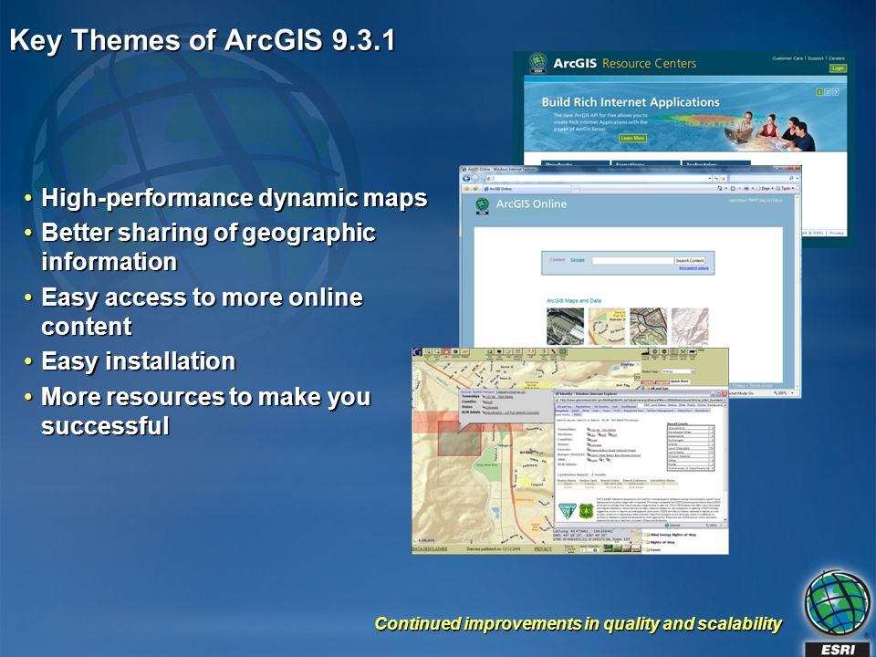 Key Themes of ArcGIS 9.3.1 High-performance dynamic maps