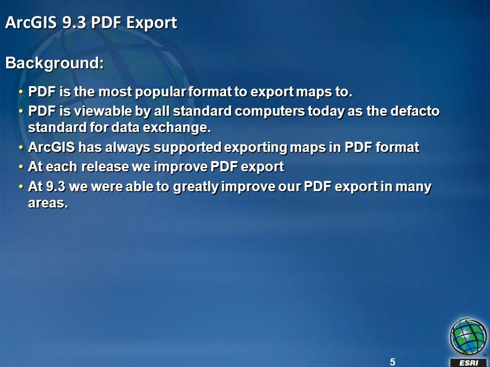 ArcGIS 9.3 PDF Export Background: