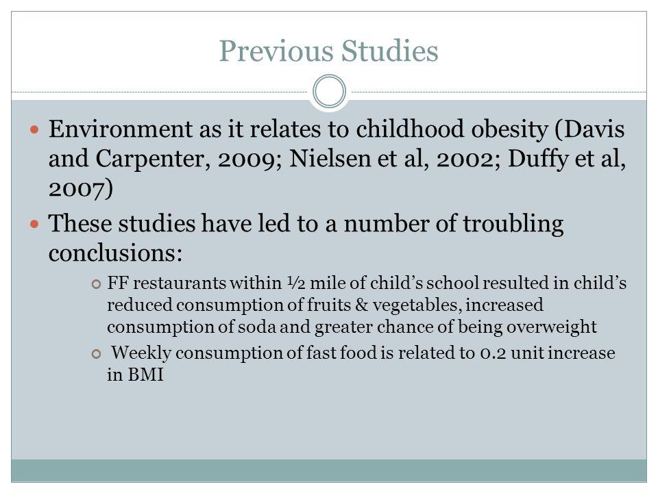 Previous Studies Environment as it relates to childhood obesity (Davis and Carpenter, 2009; Nielsen et al, 2002; Duffy et al, 2007)