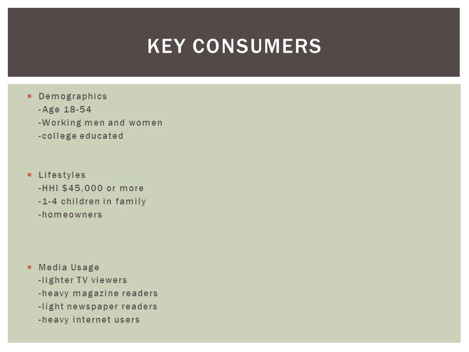 Key Consumers Demographics -Age 18-54 -Working men and women