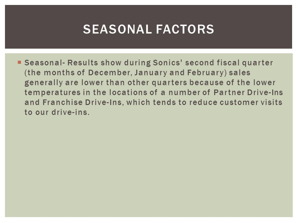 Seasonal Factors