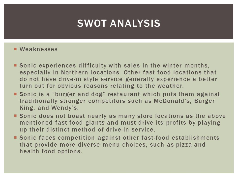 SWOT Analysis Weaknesses