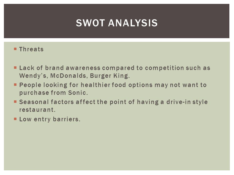 SWOT Analysis Threats. Lack of brand awareness compared to competition such as Wendy's, McDonalds, Burger King.