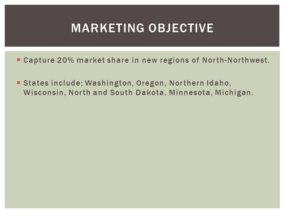 Marketing Objective Capture 20% market share in new regions of North-Northwest.