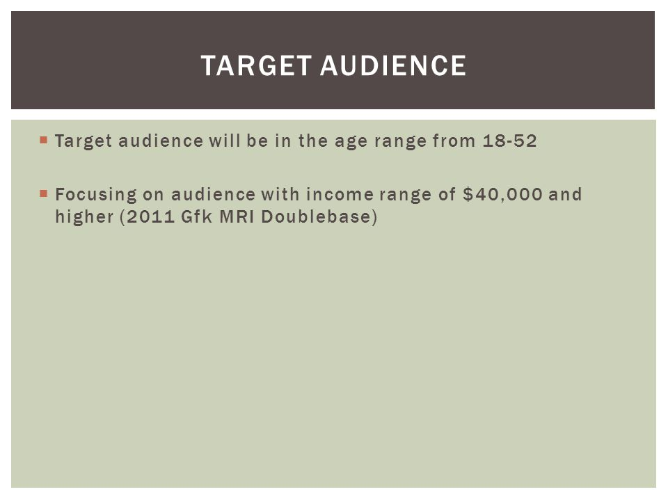 Target Audience Target audience will be in the age range from 18-52