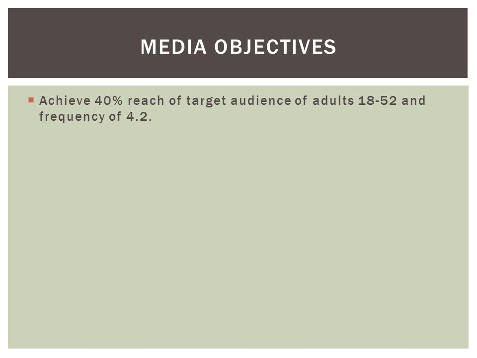 Media Objectives Achieve 40% reach of target audience of adults 18-52 and frequency of 4.2.