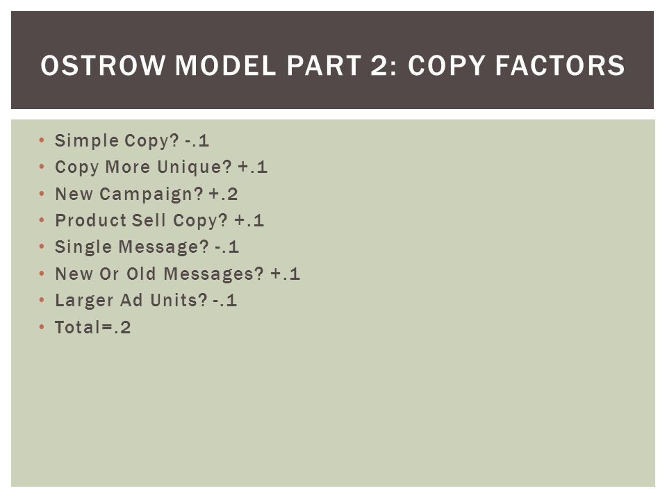 Ostrow Model Part 2: Copy Factors