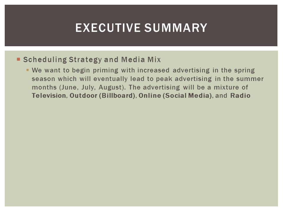Executive summary Scheduling Strategy and Media Mix