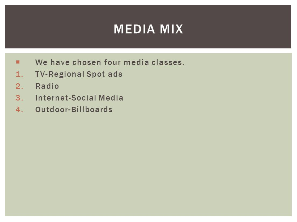 Media Mix We have chosen four media classes. TV-Regional Spot ads