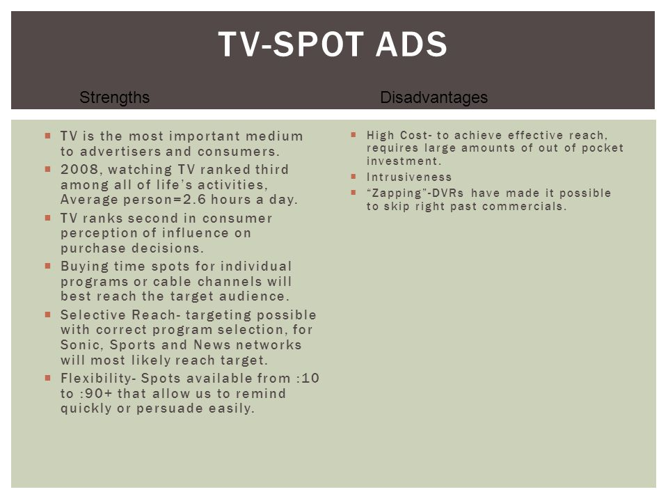 TV-Spot Ads Strengths Disadvantages