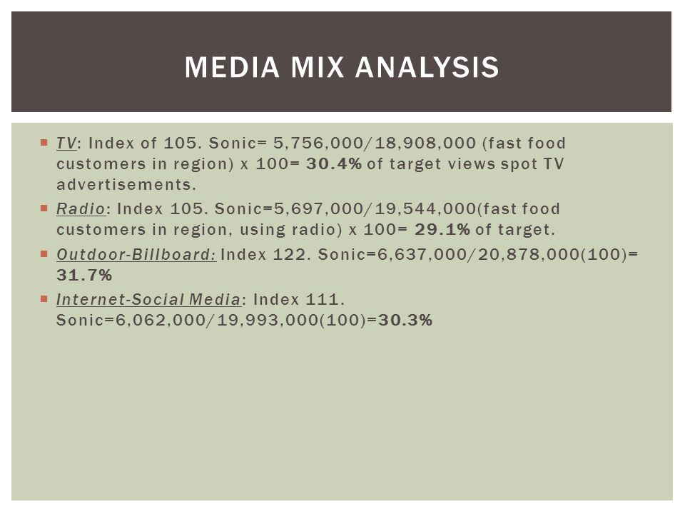 Media Mix Analysis TV: Index of 105. Sonic= 5,756,000/18,908,000 (fast food customers in region) x 100= 30.4% of target views spot TV advertisements.