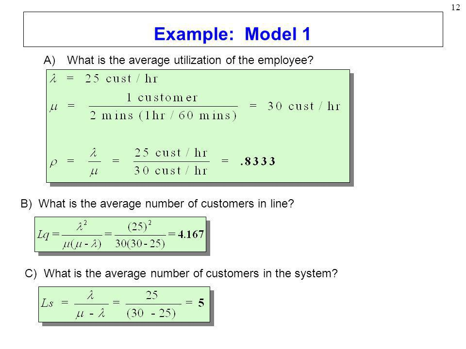 Example: Model 1 What is the average utilization of the employee