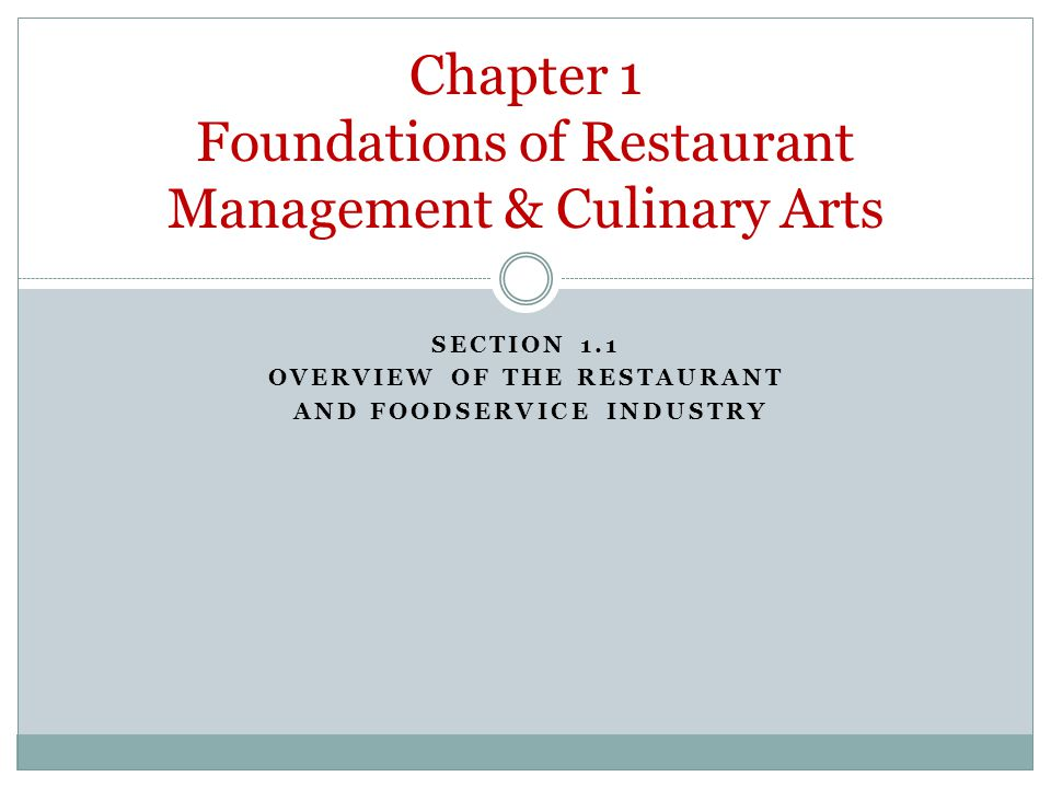 chapter 1 foundations of restaurant management culinary arts ppt