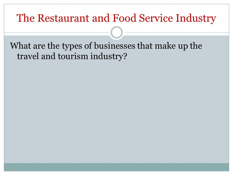 The Restaurant and Food Service Industry