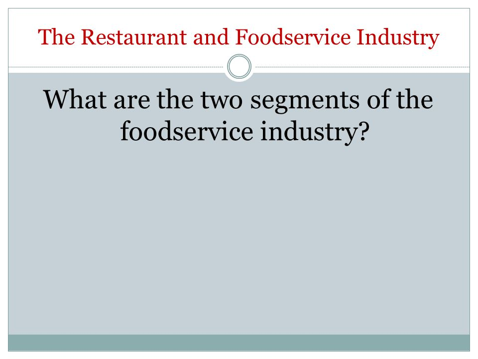 The Restaurant and Foodservice Industry