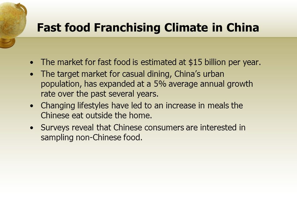 Fast food Franchising Climate in China