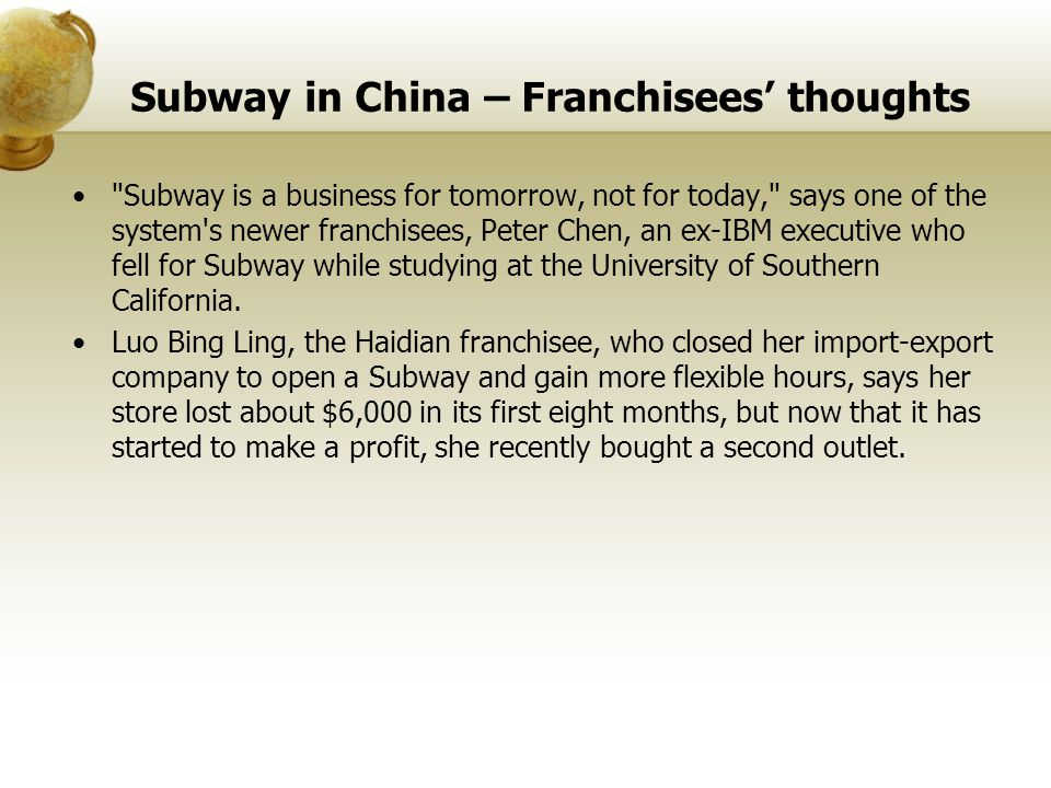 Subway in China – Franchisees' thoughts