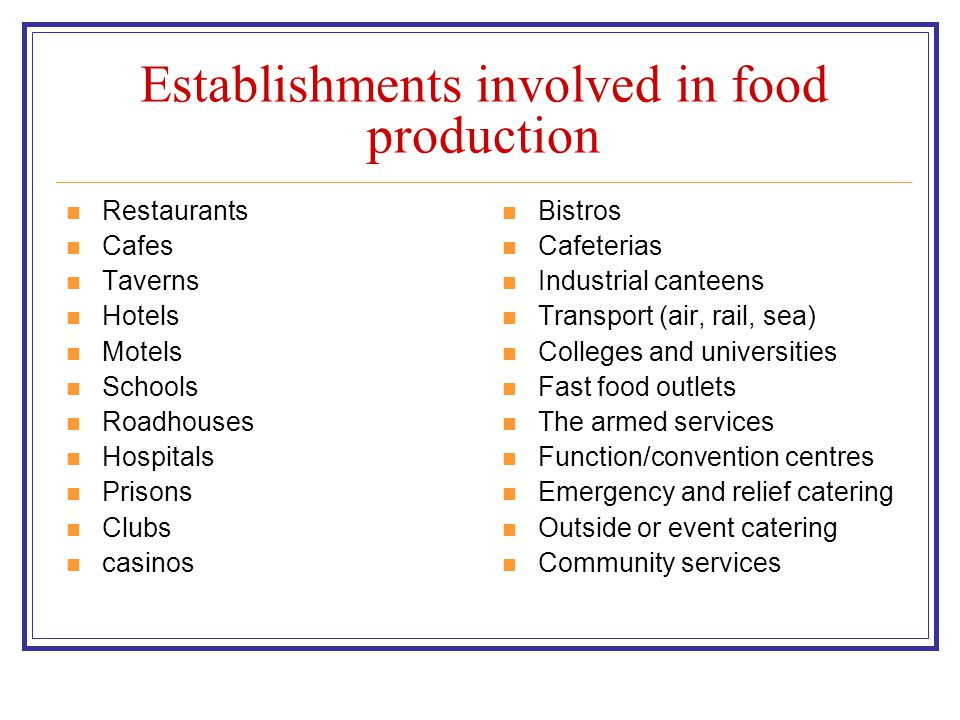 Establishments involved in food production