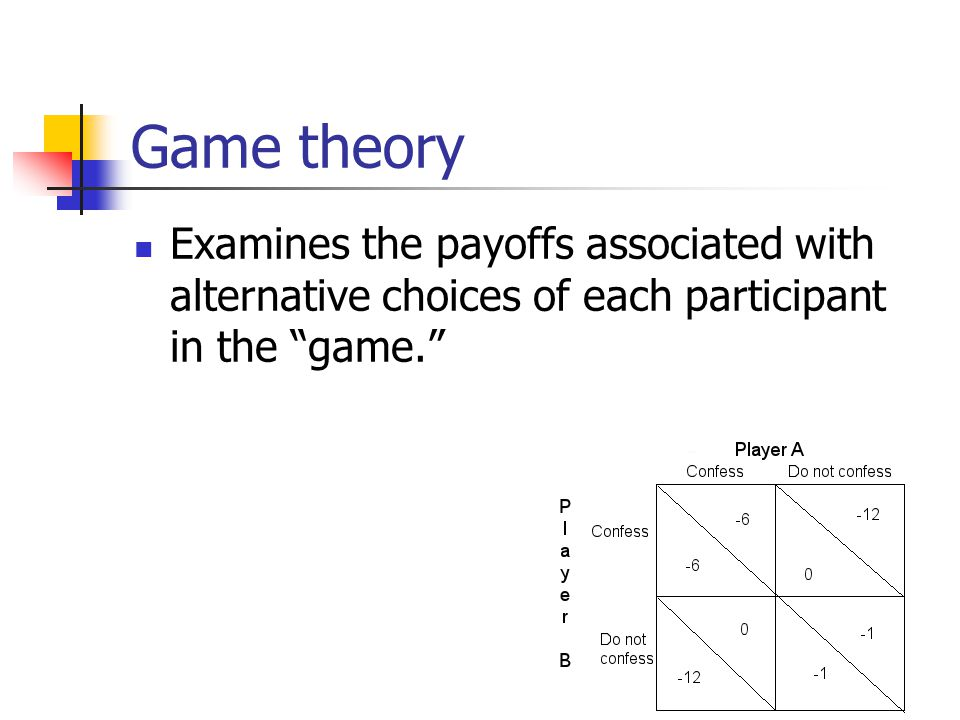 Game theory Examines the payoffs associated with alternative choices of each participant in the game.