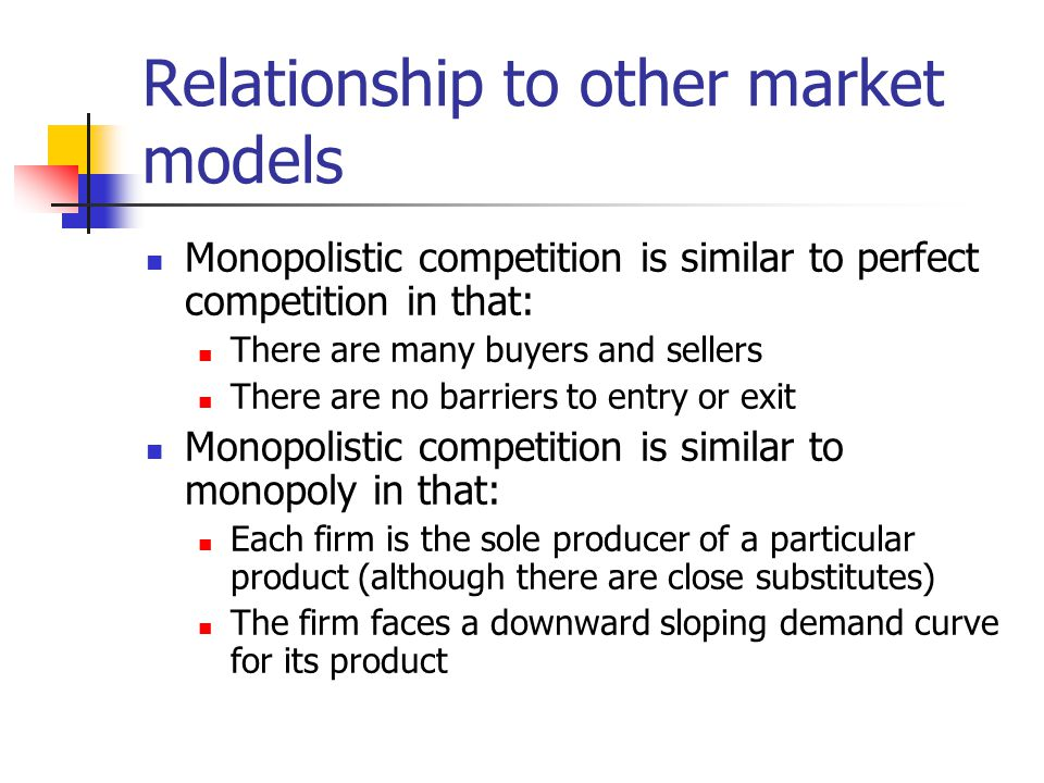 Relationship to other market models