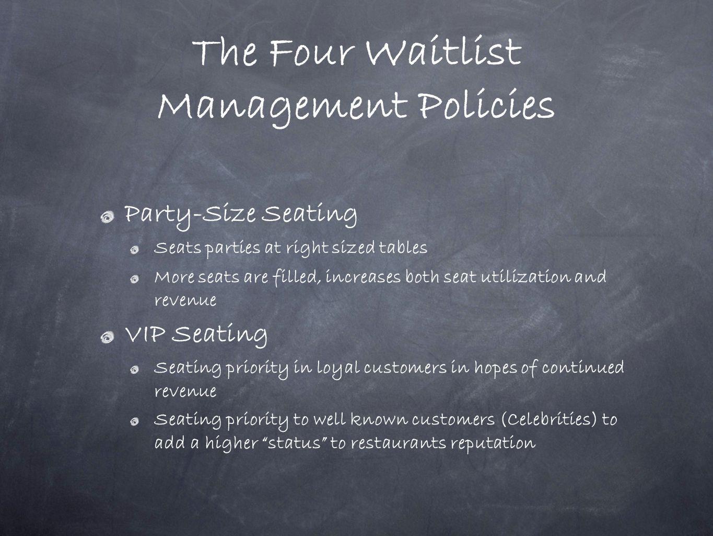 The Four Waitlist Management Policies