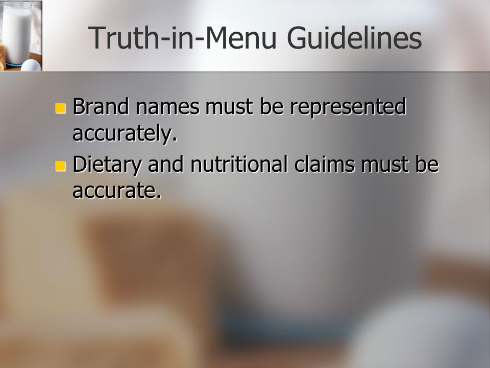Truth-in-Menu Guidelines