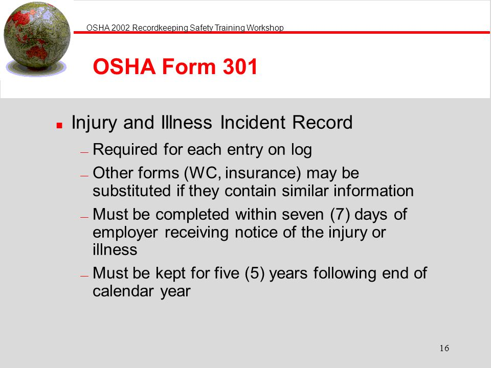 OSHA Form 301 Injury and Illness Incident Record