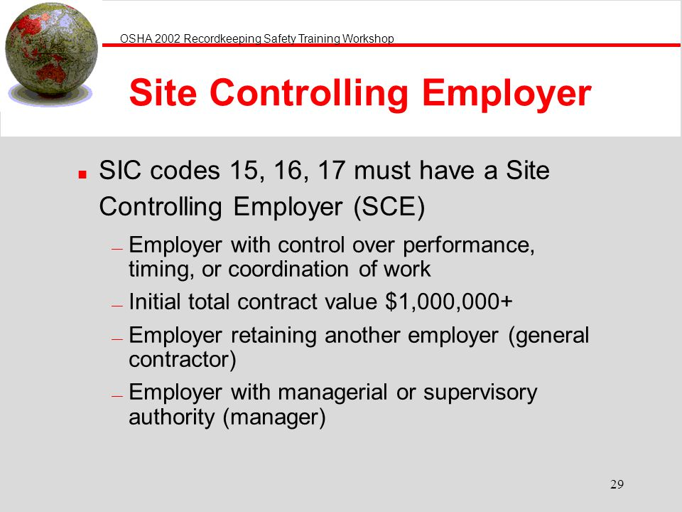 Site Controlling Employer