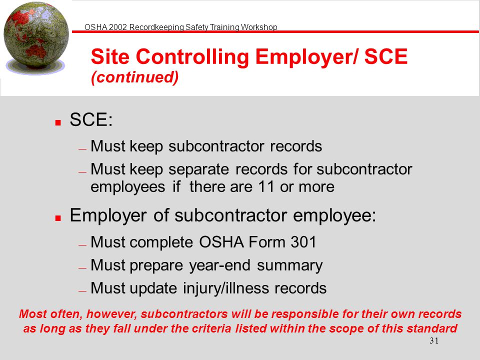 Site Controlling Employer/ SCE (continued)