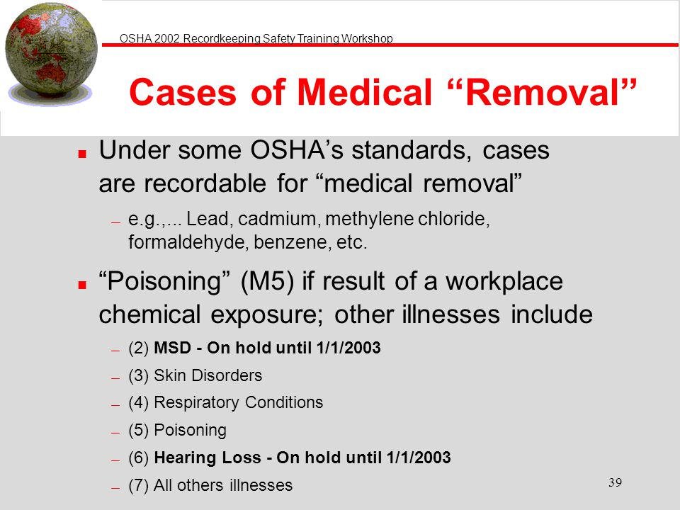Cases of Medical Removal