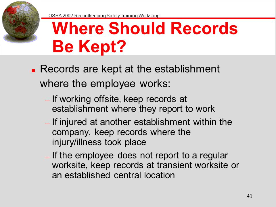 Where Should Records Be Kept
