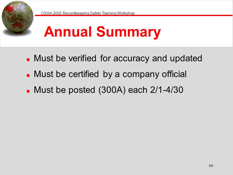 Annual Summary Must be verified for accuracy and updated