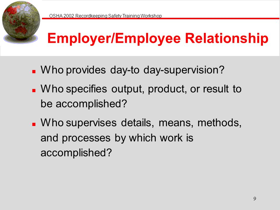 Employer/Employee Relationship