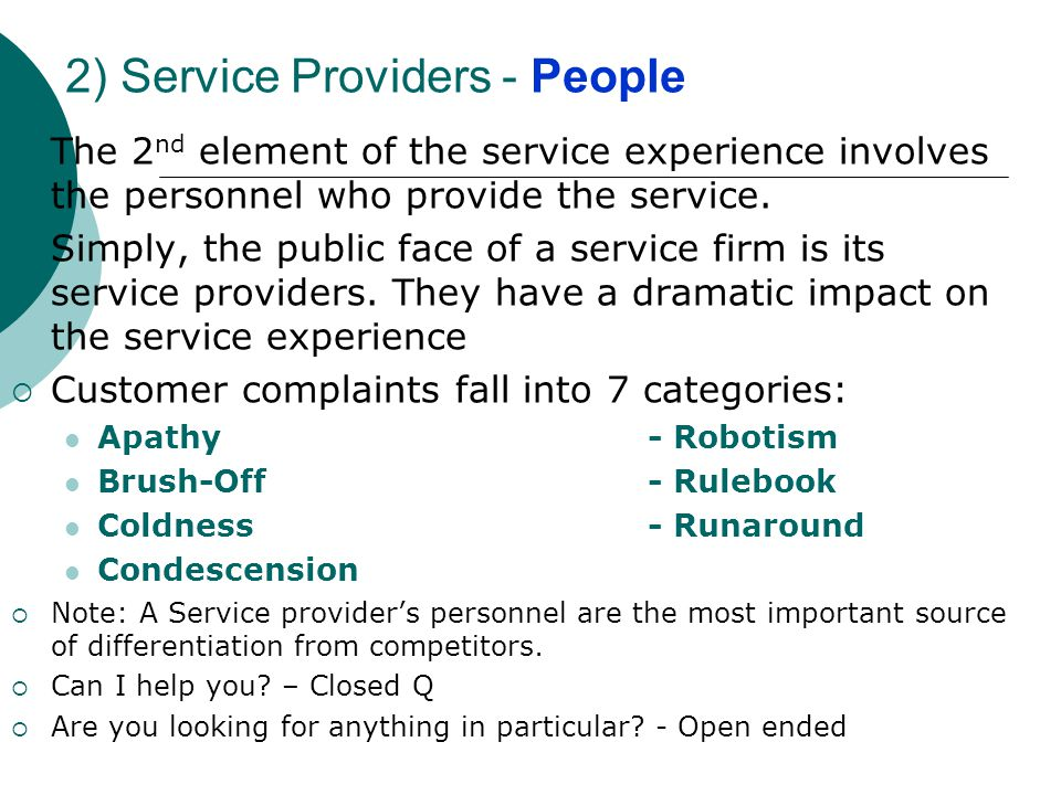 2) Service Providers - People