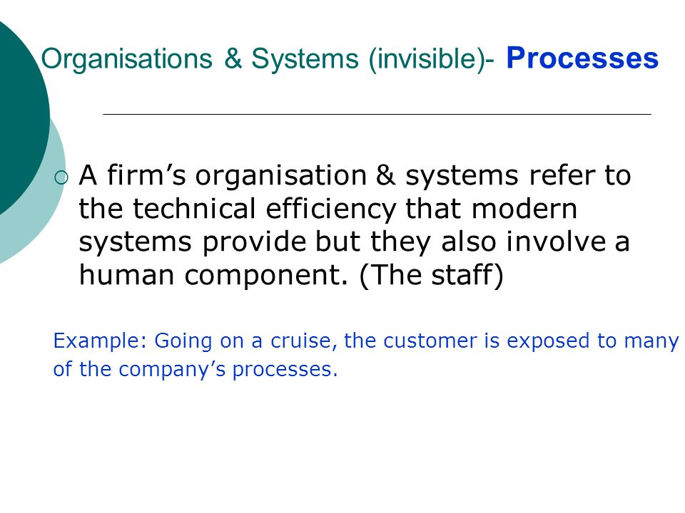 3) Organisations & Systems (invisible)- Processes
