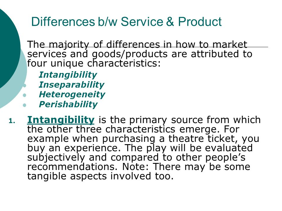 Differences b/w Service & Product