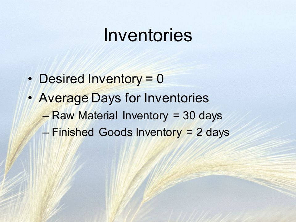 Inventories Desired Inventory = 0 Average Days for Inventories