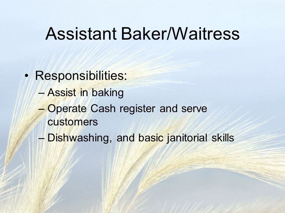 Assistant Baker/Waitress